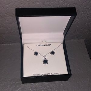Sapphire and diamond accent necklace and earrings